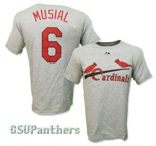Stan Musial St. Louis Cardinals COOPERSTOWN Jersey Grey T Shirt SZ (S
