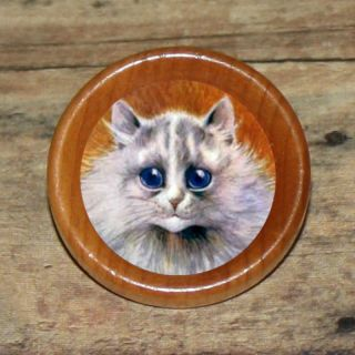 Louis Wain Silver Persian Cat Kitty Altered Art Tie Tack or Ring or
