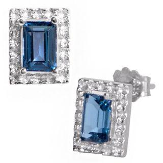 30 Ct London Blue Topaz Sterling Silver Stud Earrings