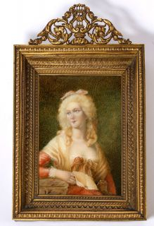 Antique French Miniature Portrait in Fine Dore Bronze Frame   Mme de