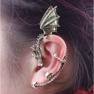 Stylish Punk Gothic Series Silver Vintage Dragon Shape Earring Ear