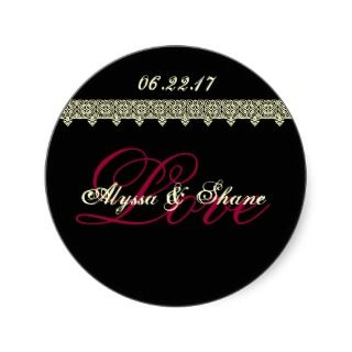 BLACK RED IVORY Lace LOVE Bride & Groom & Date Round Sticker