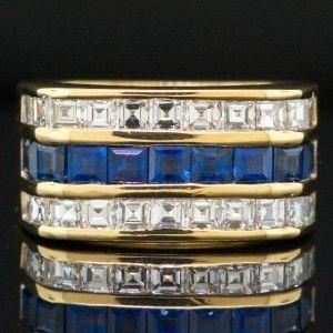 Designer Louise Fran Cora 18K Yellow Gold Ring w/ Asscher Cut Diamonds