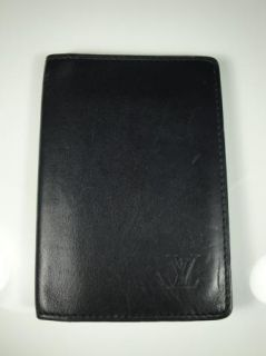Authentic Mens Black Leather Louis Vuitton ID Wallet Business Card