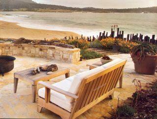 Saranac Grade A Teak Wood 6 PC Sofa Lounge Chair Set Outdoor Table