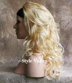 Blonde Mix 3 4 Wig Fall Hair Piece Wavy Long and Layered
