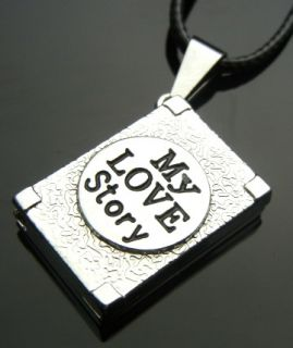 TF741 Black My Love Story Book Stainless Steel Pendant Necklace