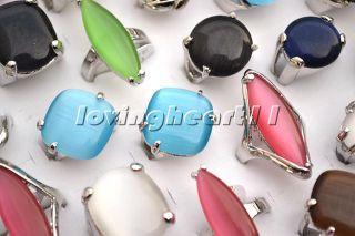 Wholesale Lots 12ps Large Natural Cat Eye Gemstone Silver P Ring