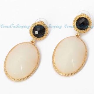 Black Stud White Oval Beads Drop Loop Dangle Earrings Jewelry