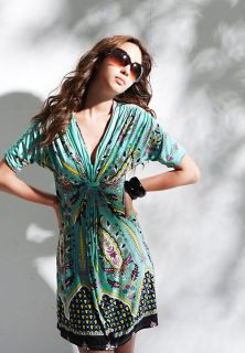 New Korea Womens Sexy Green Low Cut Retro Dress