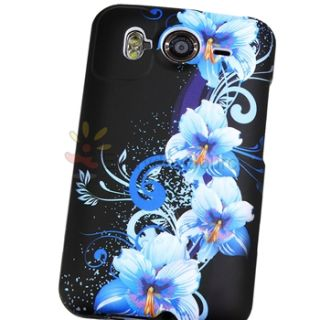 Blue Flower Purple Love Hard Skin Black Cover Case LCD Film for HTC