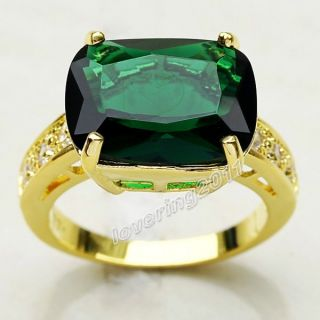 Brand Jewellery Sparkling Women 18K Yellow Gold Filled 14ct Emerald