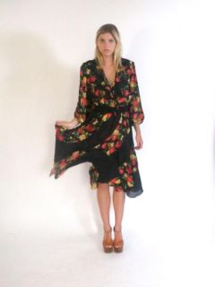 Vtg 80s Plunging V Flowey Floral Hippie Gypsy Fishtail Mini Dress