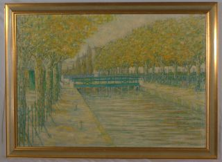 RM LOWNDES, 20THC LARGE OIL PAINTING CANAL STREET PARIS SIGNED