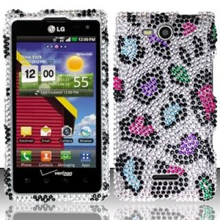 Cute Leopard LG Lucid 4G VS840 Snap on Iced Bling Hard Case Cover