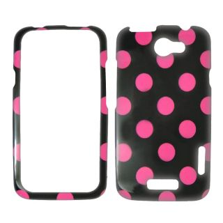HTC One x 1 x at T Pink Black Polka Dots Case Cover SnapOn Faceplate