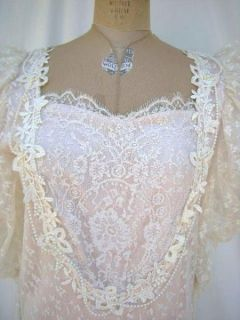 Vintage Lorrie Kabala 80s Lace Victorian Style MOB, Bridal Gown Ivory