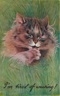Cat Artist Signed Louis Wain Tuck Oilette Prize Pussies Vintage