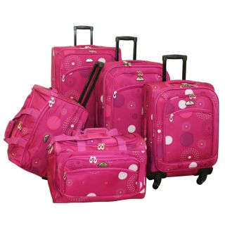 American Flyer Fireworks 5 Piece Spinner Luggage Set Pink