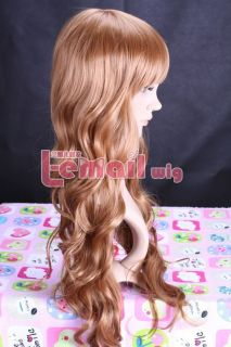 New 75cm Women Light Brown Wave Full Wig Long Party Hair Free Wig Cap
