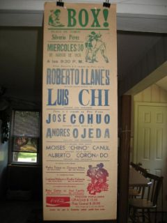 1978 Roberto Llanes vs Luis Chi Vintage on Site Boxing Poster Mexico