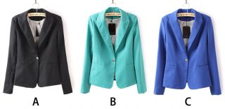 Fit Candy Colors One Button Long Sleeve Suit Blazer Jacket LUJ
