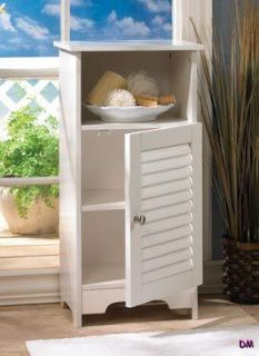 Nantucket White Storage Cabinet Night Stand Louvered Door