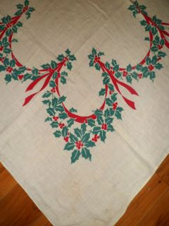 Vintage 40s Cotton Linen Christmas Tablecloth Poinsettias and Ribbons