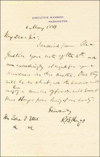 Rutherford B Hayes Autograph Letter Signed 05 06 1877