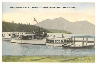 California Lower Clear Lake Boats at Dock Lake County 1910 Postcard CA