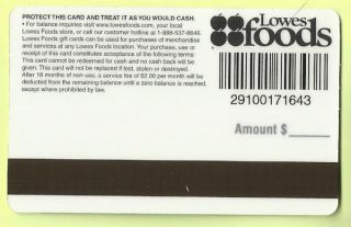 Lowes Foods Grocery Collectible No Value Gift Card Present Buy 6 SHIP