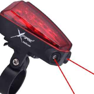 MTB Road BMX Bicycle Light XFIRE Rear 5 LED w Laser Lane Marker