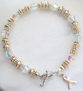 Lung Cancer Awareness Bracelet Swarovski Crystal Gold