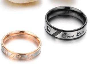 Stainless Steel Wedding Band True Love Engraved w/GEM Couple Rings