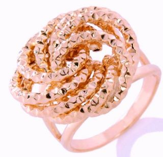 Technibond Rosetta Love Knot Ring 14k Rose Gold Clad Sterling Silver