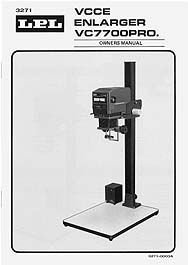 LPL VC7700 VCCE Variable Contrast Enlarger Instruction Manual