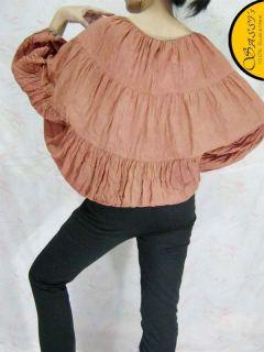 Blouse LSA11 Bin Brown Batwing Crinkle Cotton Casual Top Boho Girl