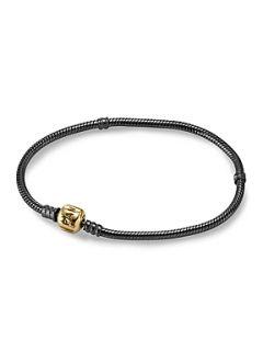 Pandora Oxidised Sterling Silver Threaded Bracelet Black