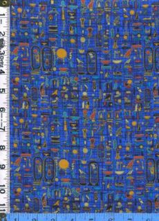 Fabric Timeless 1998 Luxor Egyptian Cartouche on Royal Blue Met Gold