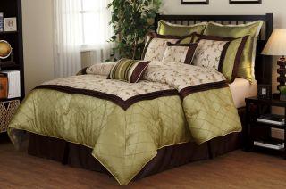 Luxury Bed in A Bag Green Brown Savanna Comforter Set Queen King