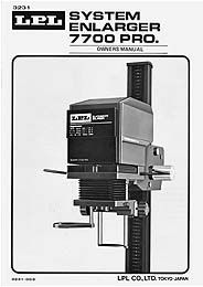 LPL 7700 670XL Condenser Enlarger Instruction Manual