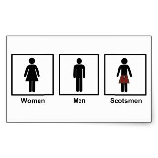 Women, Men, Scotsmen Humorous Toilet Signs Stickers