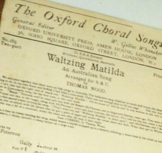 Australian Song Original 1937 Sheet Music Oxford Choral Lyrics