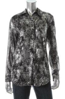 Michael Kors New Silver Metallic Patina Button Down Top Shirt Blouse M
