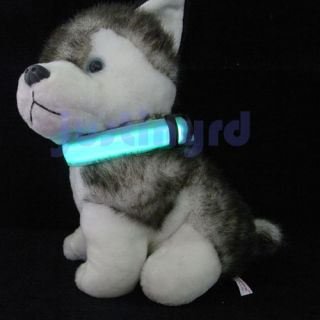 LED Nylon Pet Dog Night Safety Collar LED Light Up Flashing Glow s M L