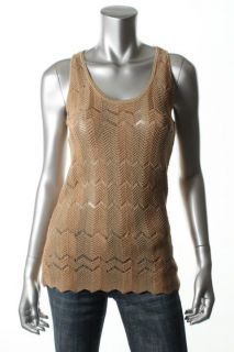 Anne Klein New Tan Woven Zig Zag Pattern Scoop Neck Racerback Tank Top