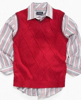 Izod Kids Separates, Little Boy Stripe Shirt and Cable Sweater Vest
