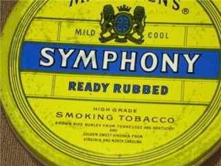 Vintage Mac Barens Symphony Ready Rubbed Smoking Tobacco Tin Made in