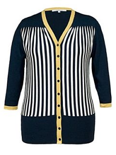 Chesca Stripe rib trim cardigan Navy