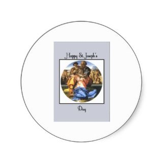 Blue Happy St. Josephs Day Round Sticker